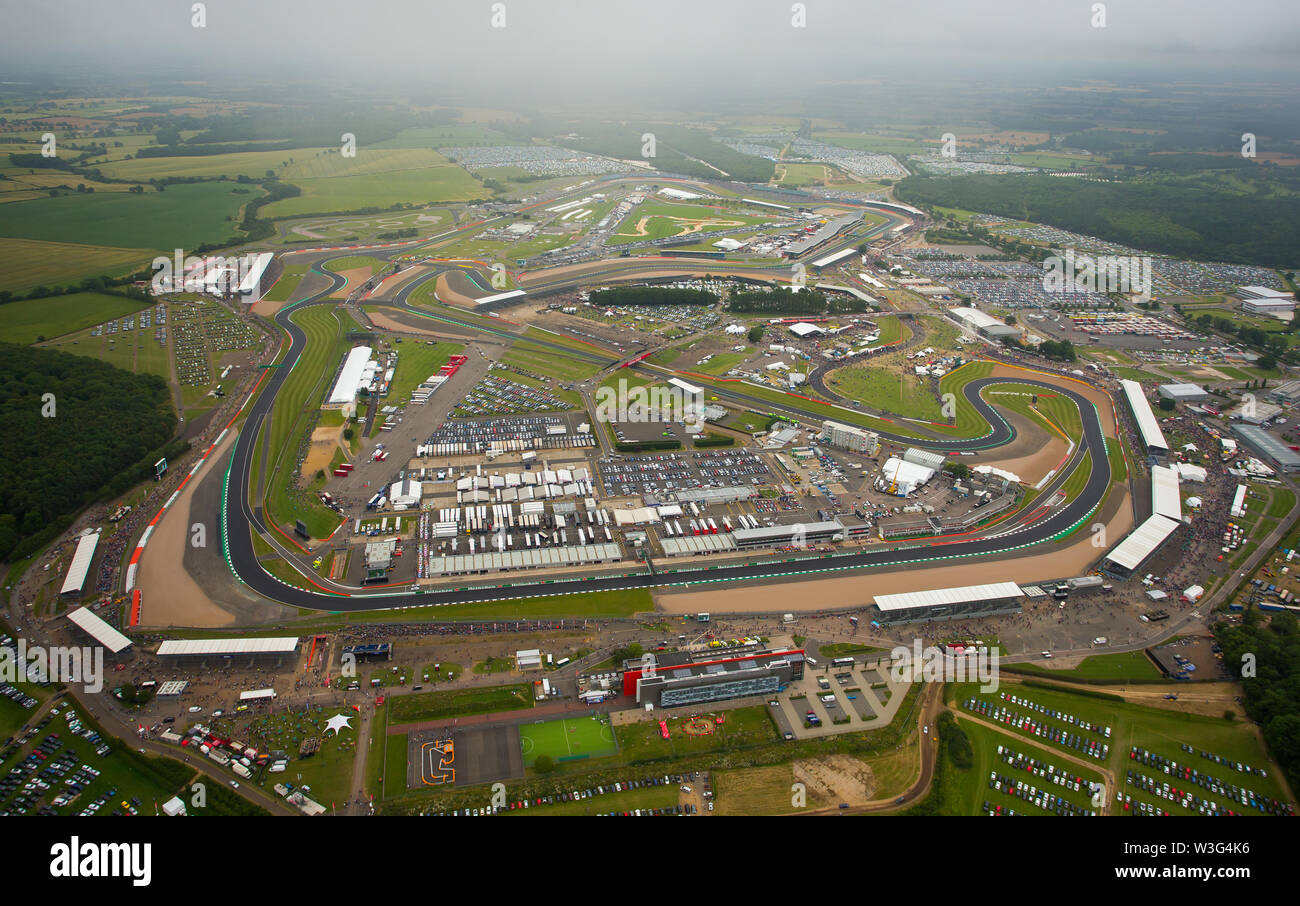 An aerial view of Silverstone Circuit on F1 race day 2019 from a helicopter above the Northamptonshire circuit. - Stock Image