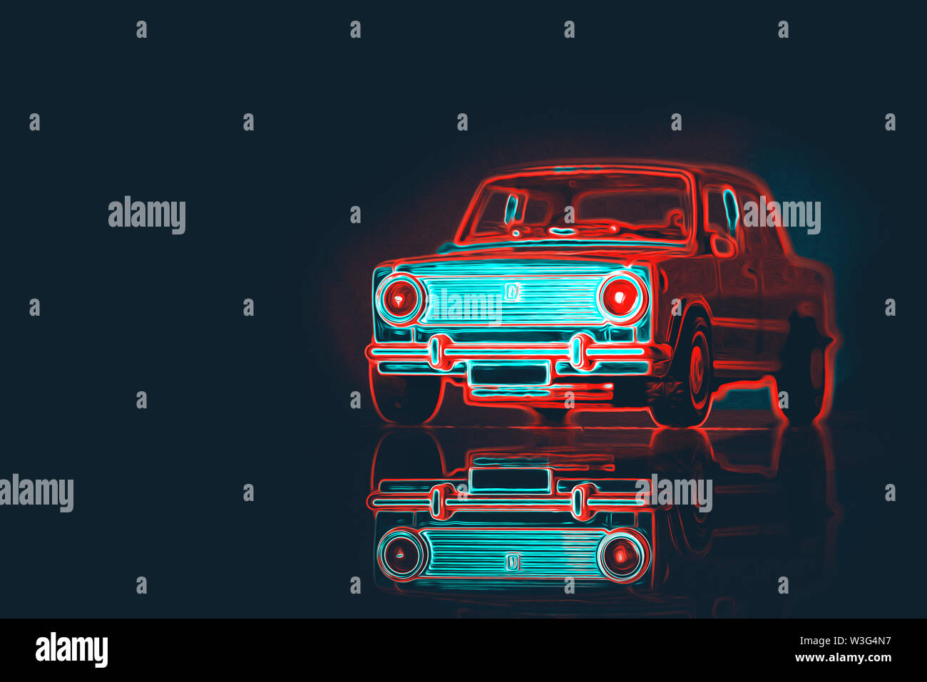 Front view of a retro car toy car on a with neon lights. - Stock Image