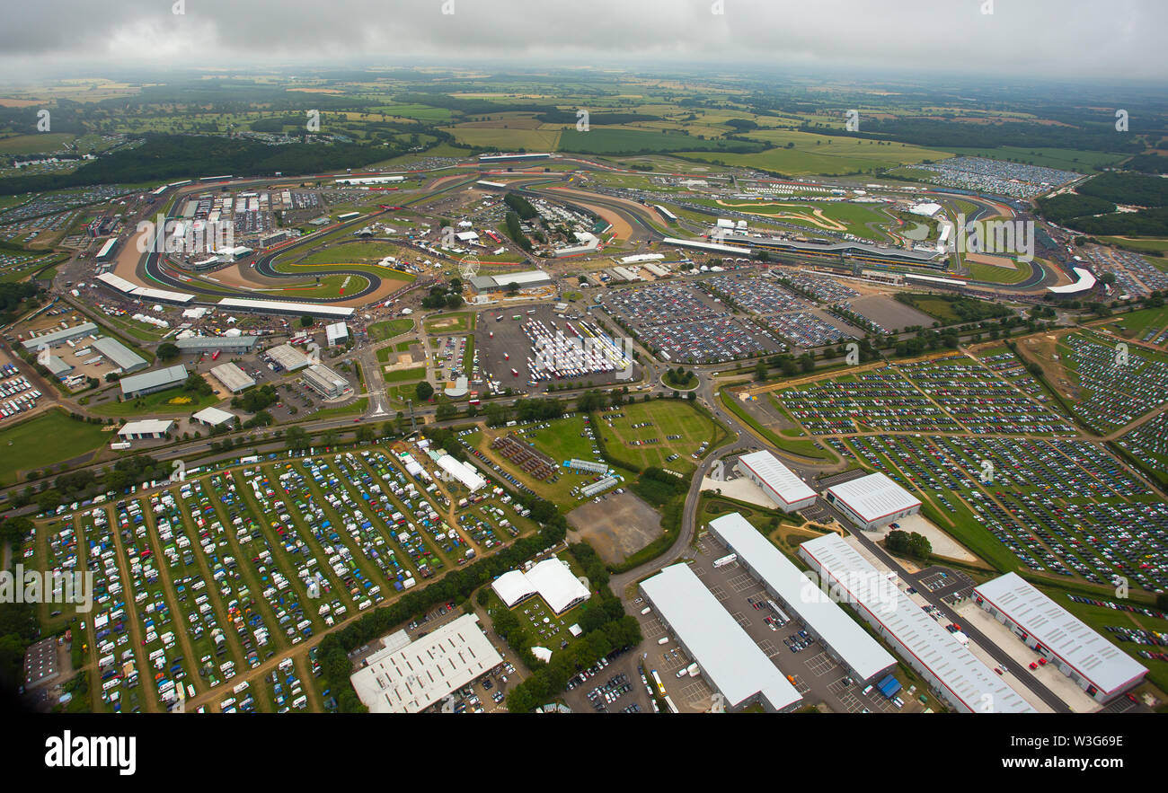 An aerial view of Silverstone Camping at Litchlake Farm, Silverstone Circuit on F1 race day 2019 from a helicopter above the Northamptonshire circuit. - Stock Image