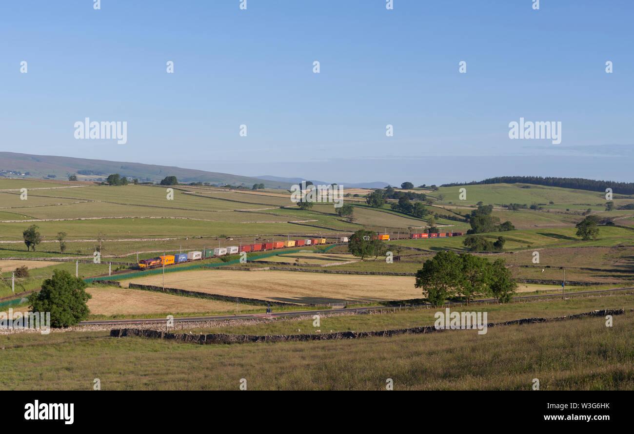 03/07/2019 Shap 66155 0220 Mossend yard to Seaforth intermodal - Stock Image