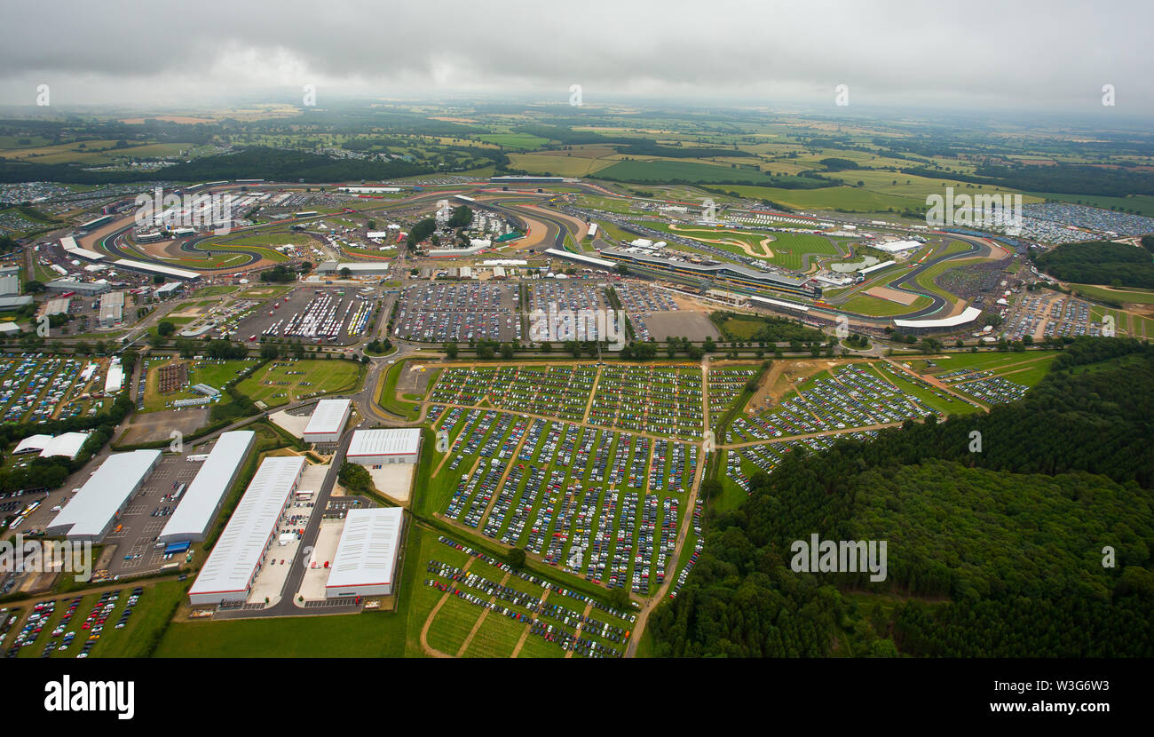 An aerial view of the car park on Dadford Road, Silverstone Circuit on F1 race day 2019 from a helicopter above the Northamptonshire circuit. - Stock Image