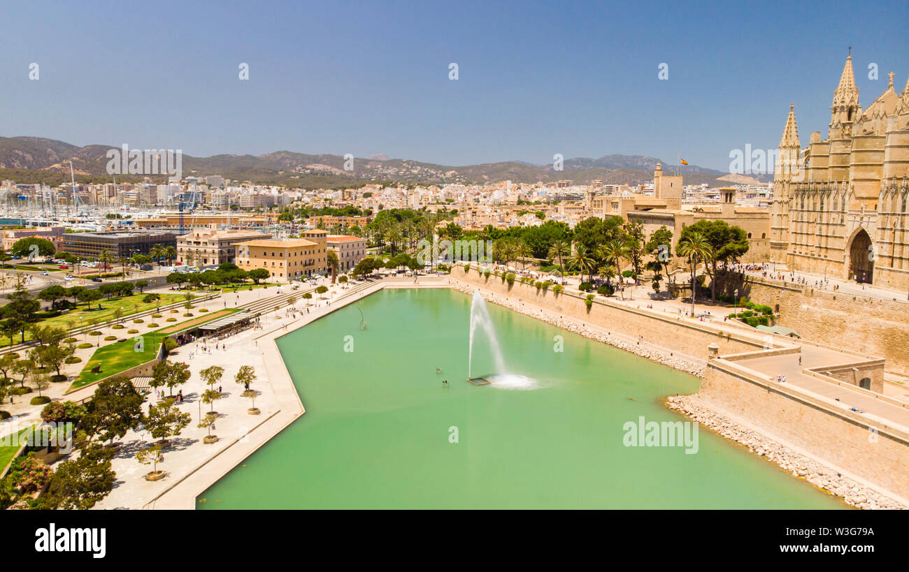 Aerial view of Palma city. Cityscape, architecture, Cathedral of Santa Maria Stock Photo