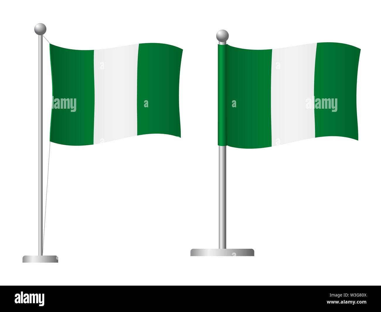 Nigeria flag on pole. Metal flagpole. National flag of Nigeria  illustration - Stock Image