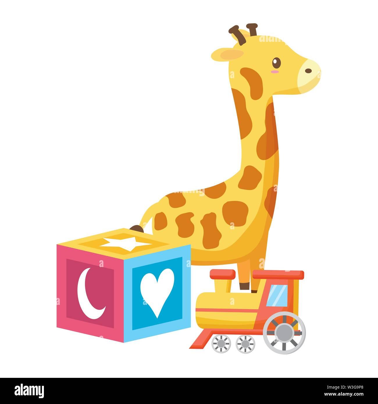 baby toys giraffe cube and train vector illustration - Stock Image
