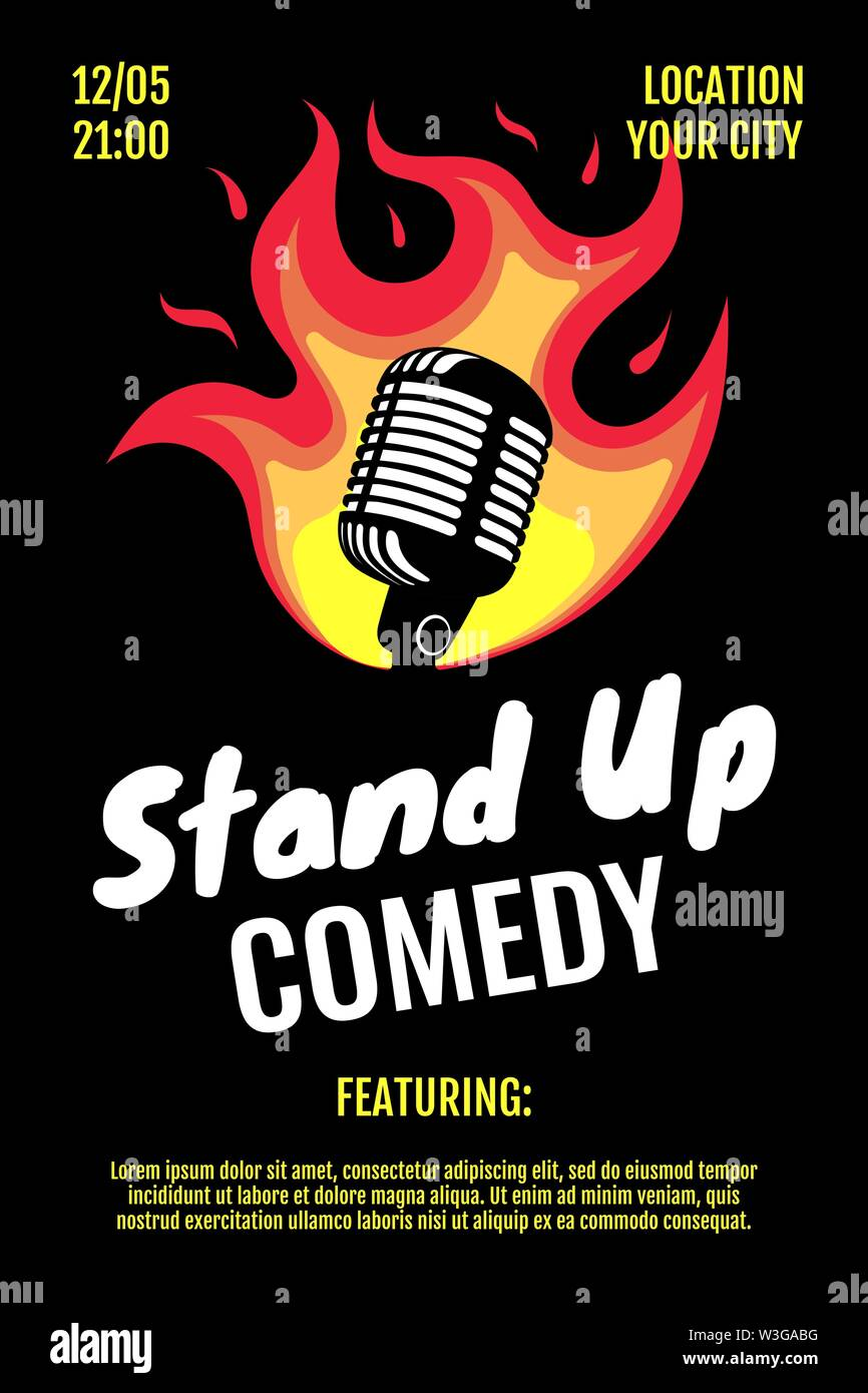 Stand up comedy night live show A3 A4 poster design template. Retro microphone with fire on black background. Hot jokes roast concept flyer. Vector op - Stock Image