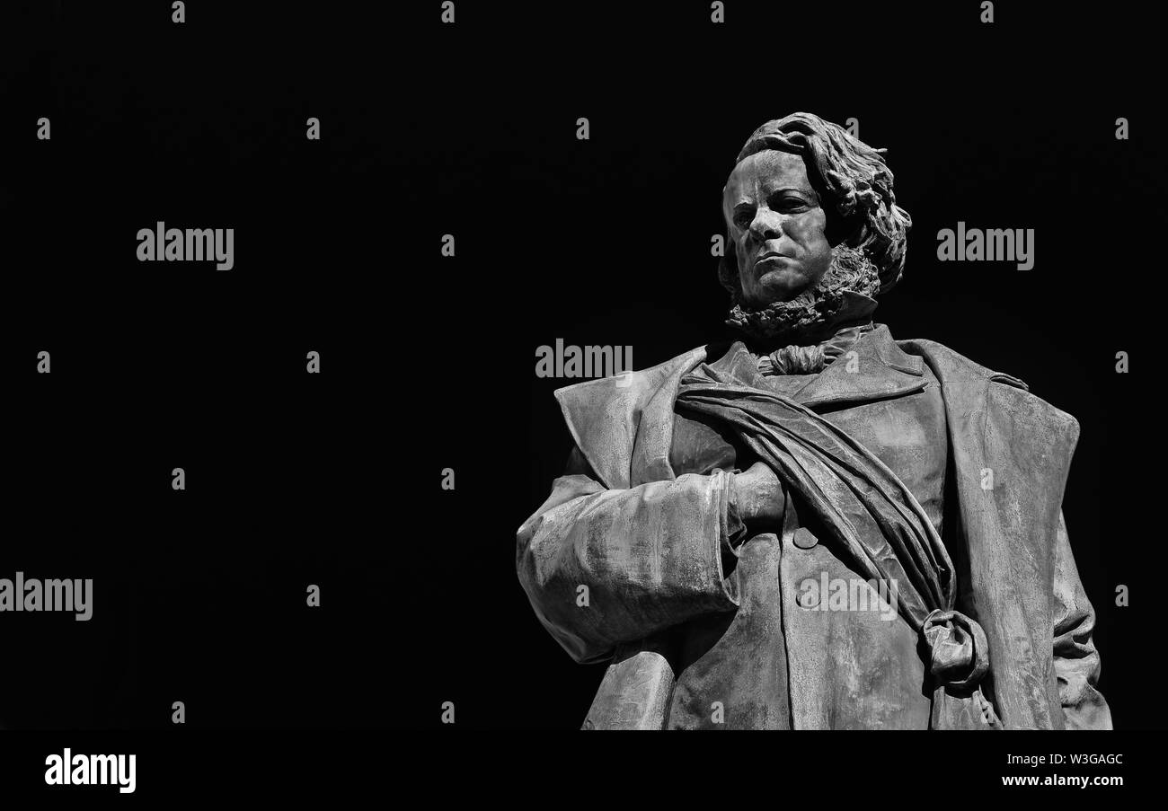 Daniele Manin, italian and venetian patriot during the revolt against Austrian empire in 1848. Bronze statue erected in 1875 in the historic center of - Stock Image
