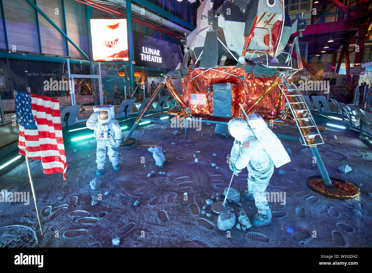Apollo 11 moon landing replica in the Apollo/Saturn 5 center Kennedy Space Center Florida USA on the week of the 50th anniversary of the moon landings - Stock Image