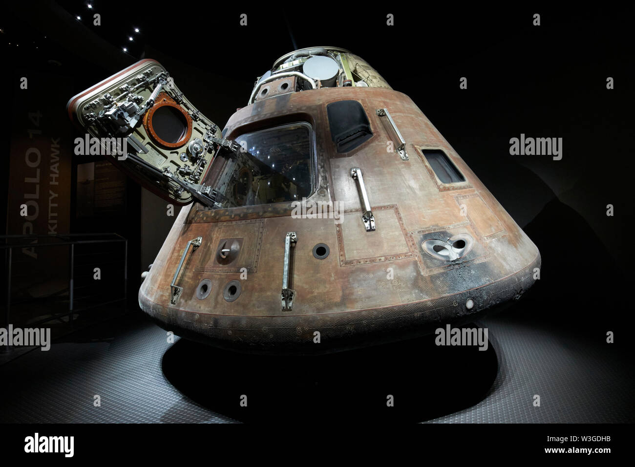 Apollo 14 crew capsule in the treasures gallery in the Apollo/Saturn 5 center Kennedy Space Center Florida USA on the week of the 50th anniversary of - Stock Image