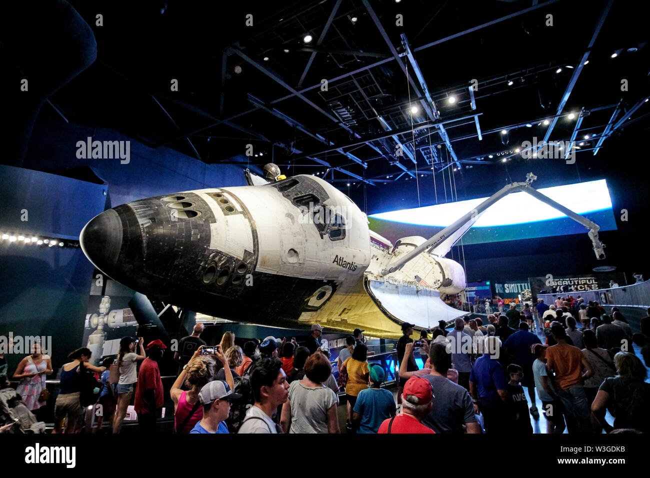 tourists visiting the Space Shuttle Atlantis at Kennedy Space Center Florida USA - Stock Image