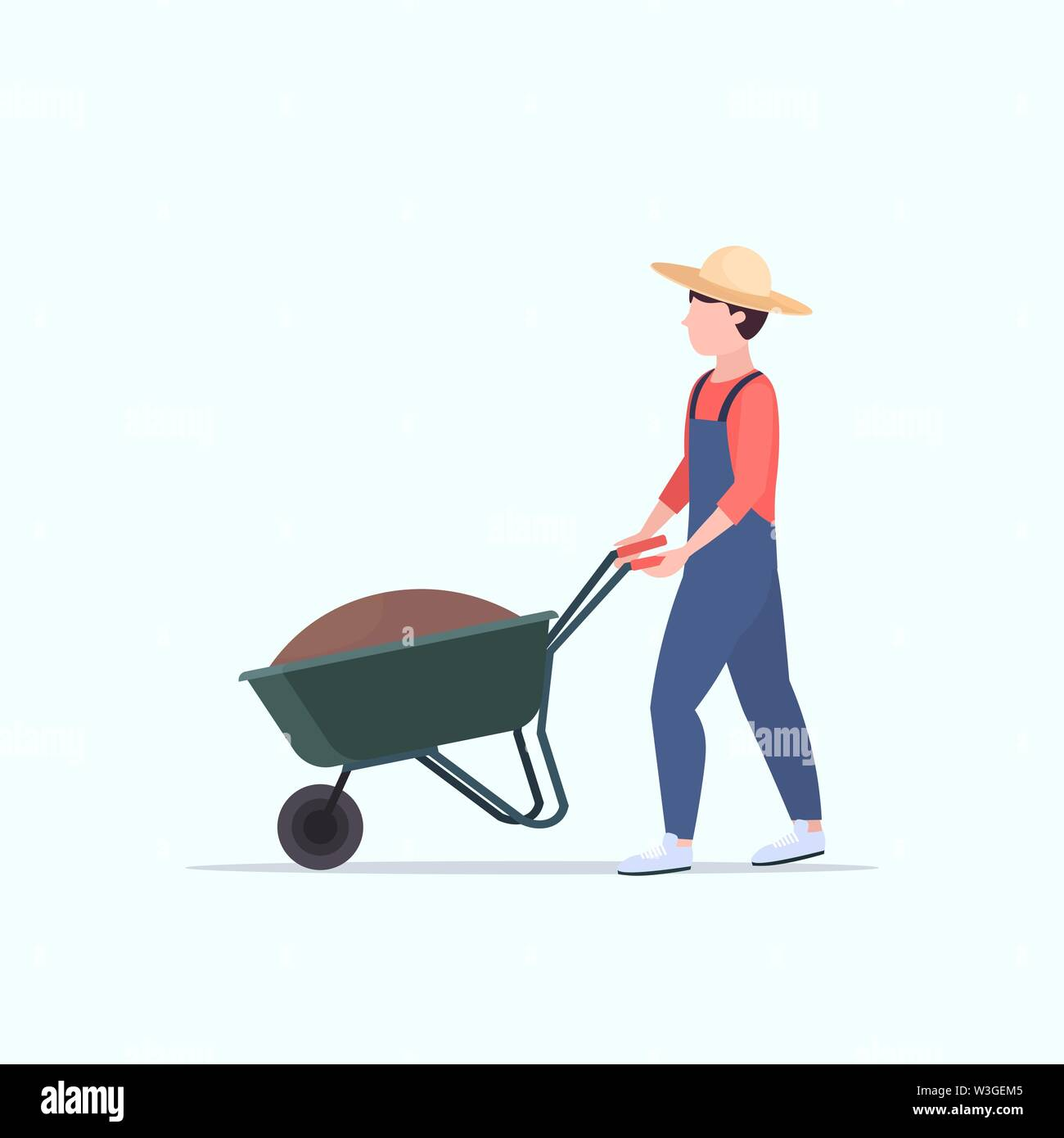 gardener man pushing wheelbarrow loaded with soil male farmer working in garden agriculture gardening concept full length - Stock Image