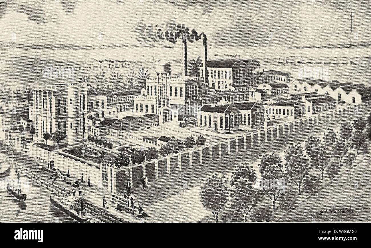 Chromolithographic and paper mill factory of Mr. K. I. Lagoudakis & Co in Alexandria (c. 1902). - Stock Image