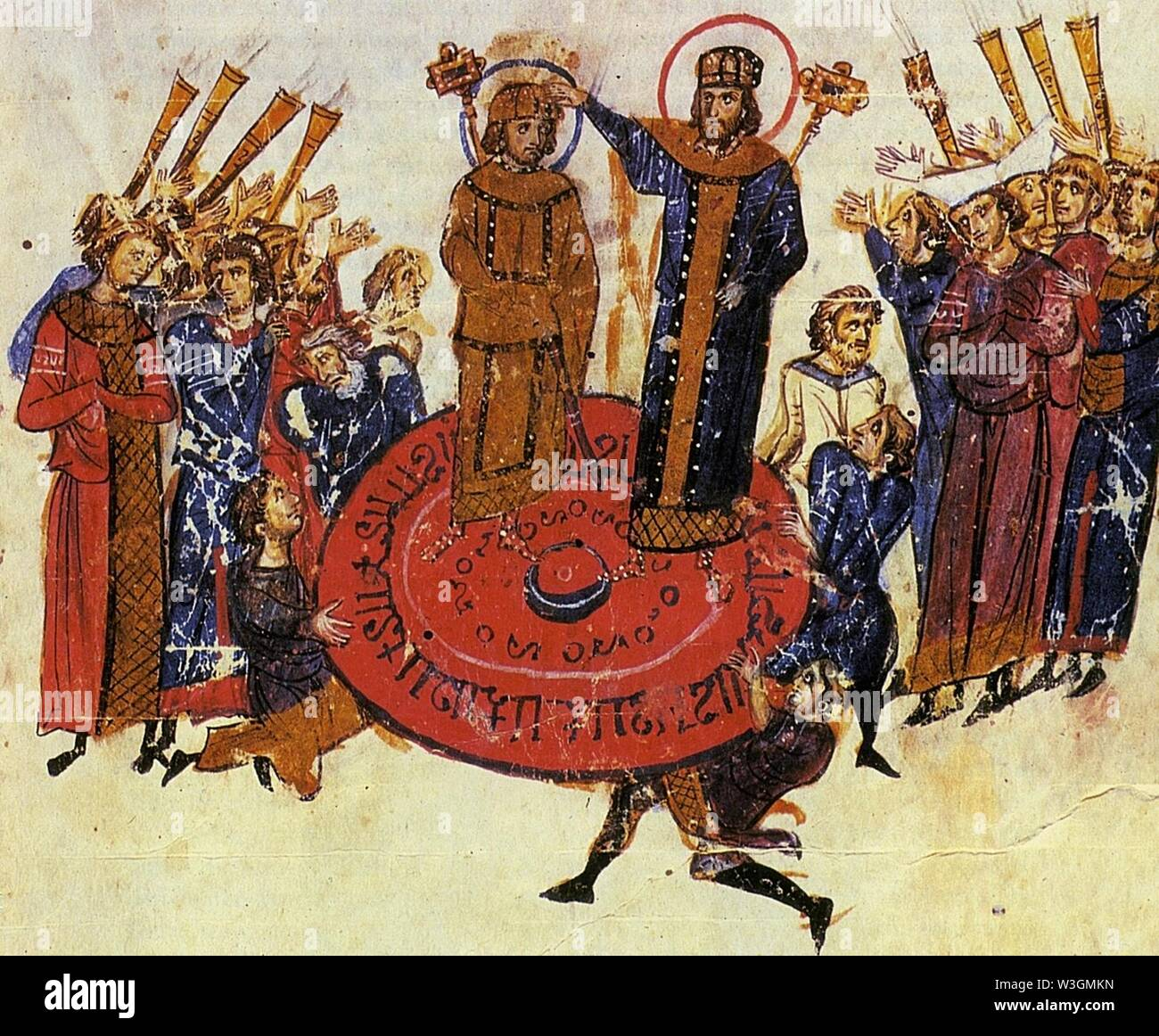 Chronicle by John Skylitzis, which depicts the elevation of the emperor on a shield by the soldiers. - Stock Image