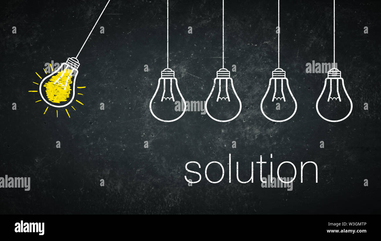 Graphic: solution - light bulbs and text on a chalkboard - Stock Image