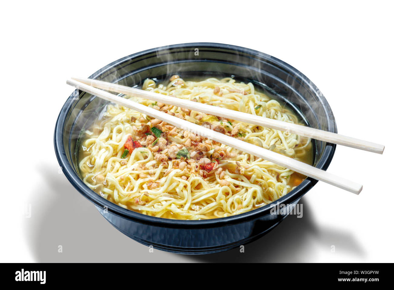 Noodles on the bowl with chopstick isolated over white background - Stock Image