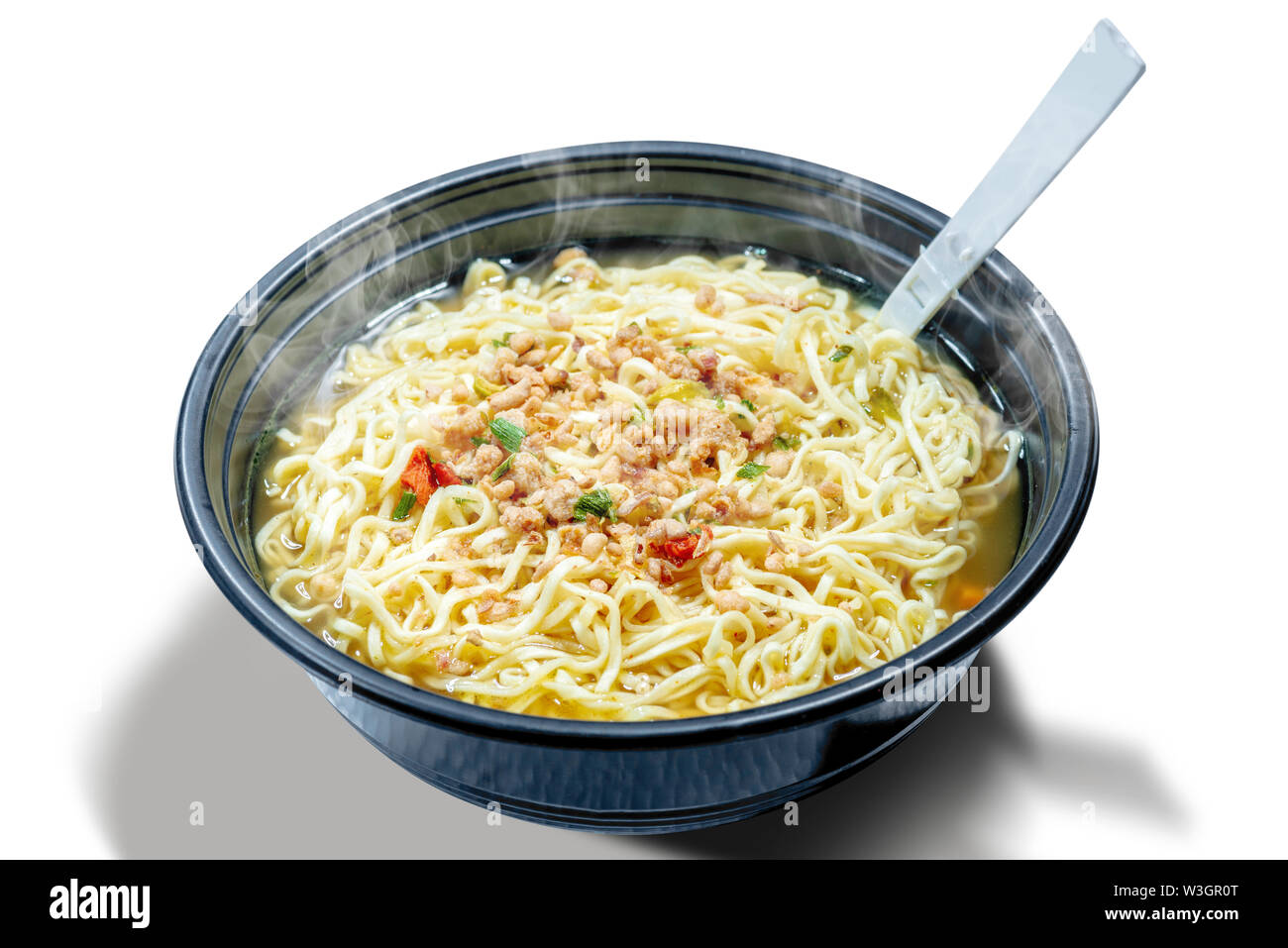 Noodles on the bowl with fork isolated over white background - Stock Image