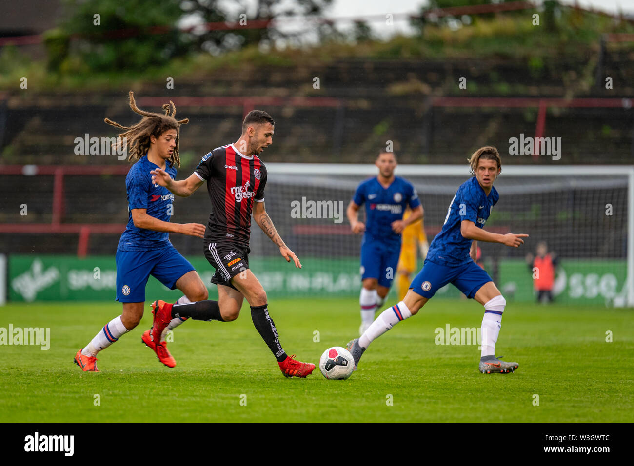 Ethan Ampadu (L) and Robbie McCourt (R) in action during Chelsea's pre season friendly match against Bohemian FC in Dublin. Final Score 1-1. - Stock Image