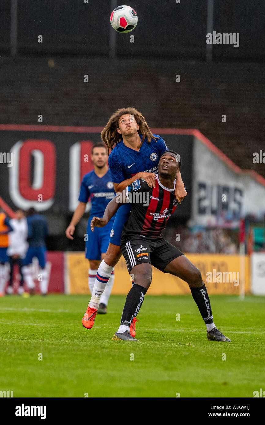 Ethan Ampadu (L) and Andre Wright (R) in action during Chelsea's pre season friendly match against Bohemian FC in Dublin. Final Score 1-1. - Stock Image