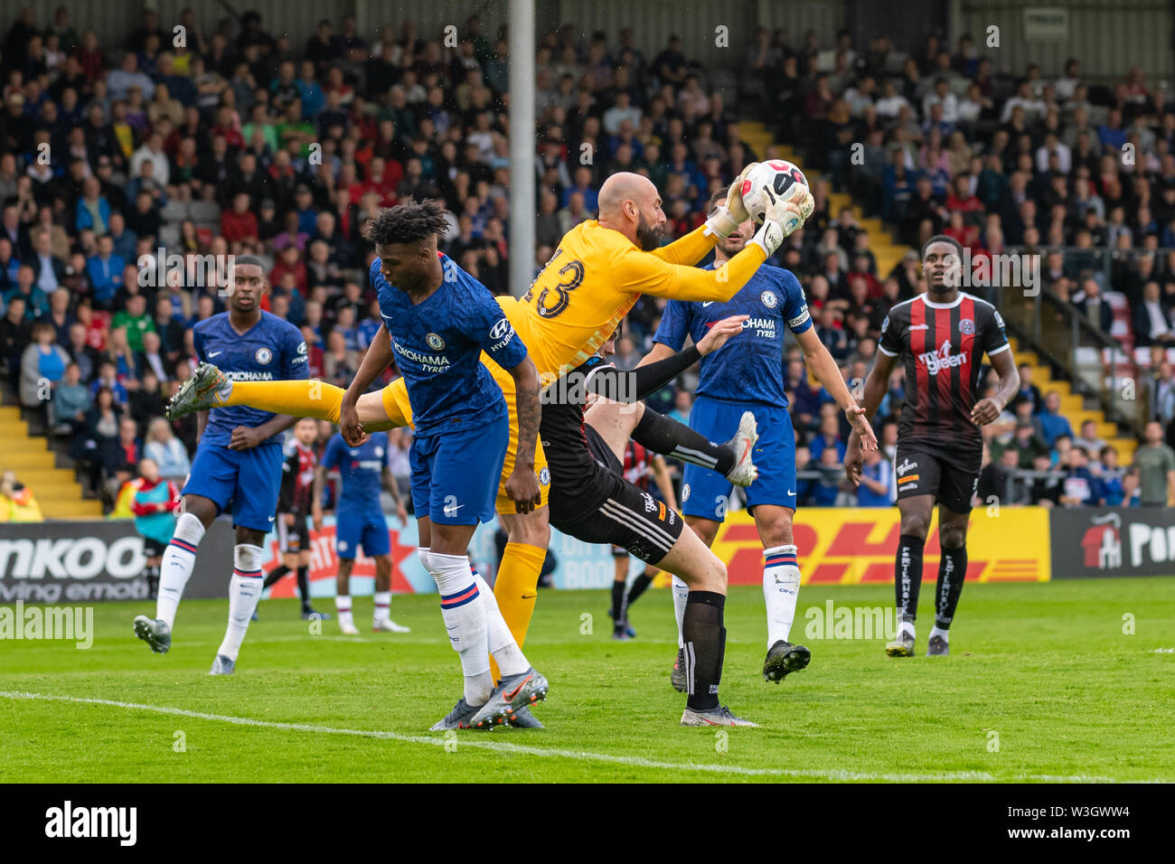 Chelsea Goalkeeper Willy Caballero in action during Chelsea's pre season friendly match against Bohemian FC in Dublin. Final Score 1-1. - Stock Image