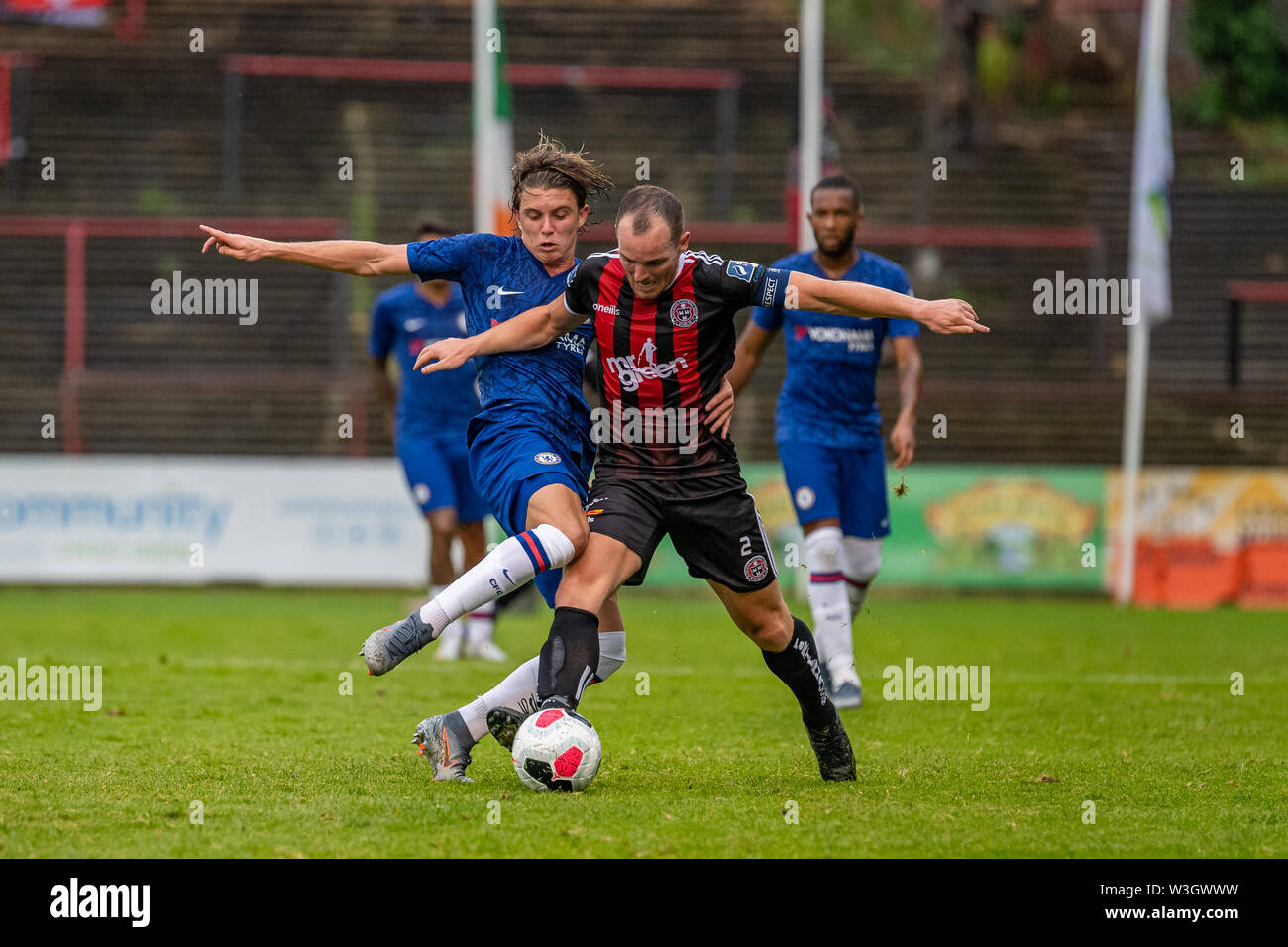 Derek Pender (R) and Conor Gallagher (L) in action during Chelsea's pre season friendly match against Bohemian FC in Dublin. Final Score 1-1. - Stock Image