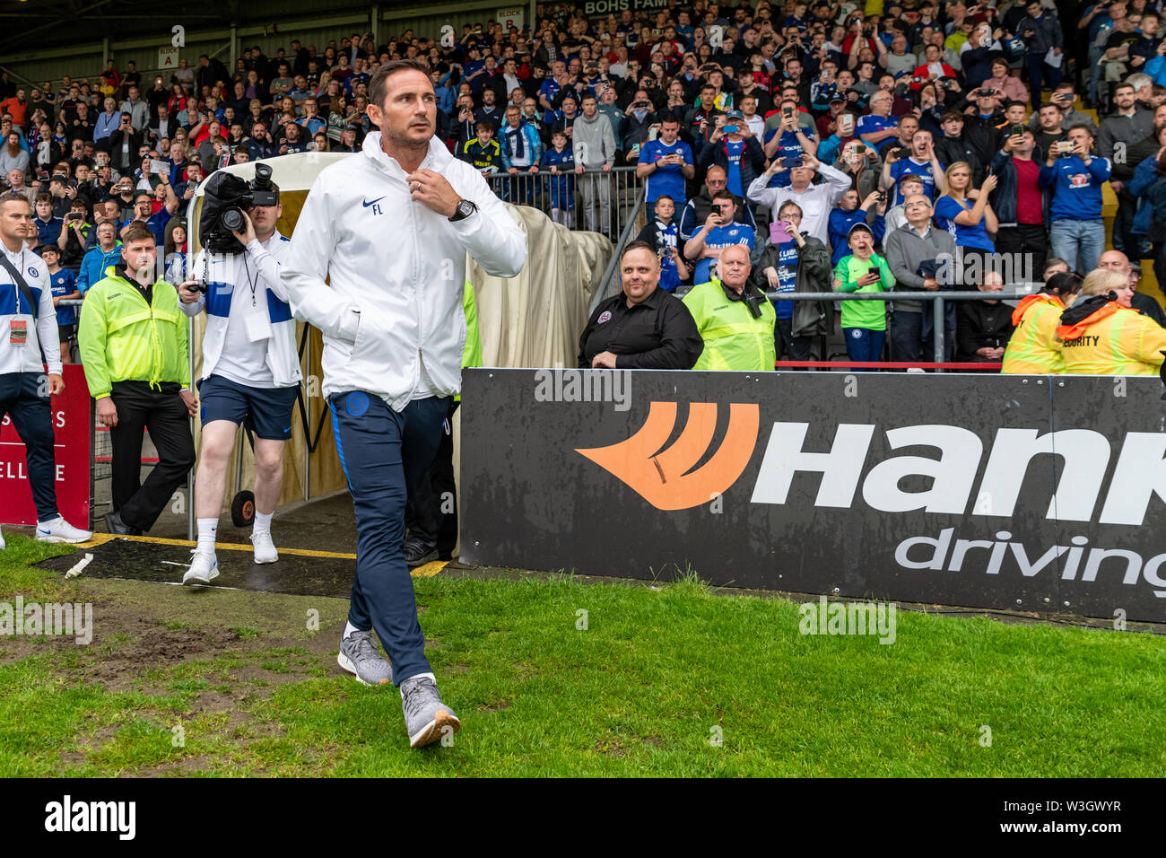 Newly appointed Chelsea Manager Frank Lampard is welcomed on to the pitch ahead of Chelsea's pre season friendly match against Bohemian FC in Dublin. Final Score 1-1. - Stock Image