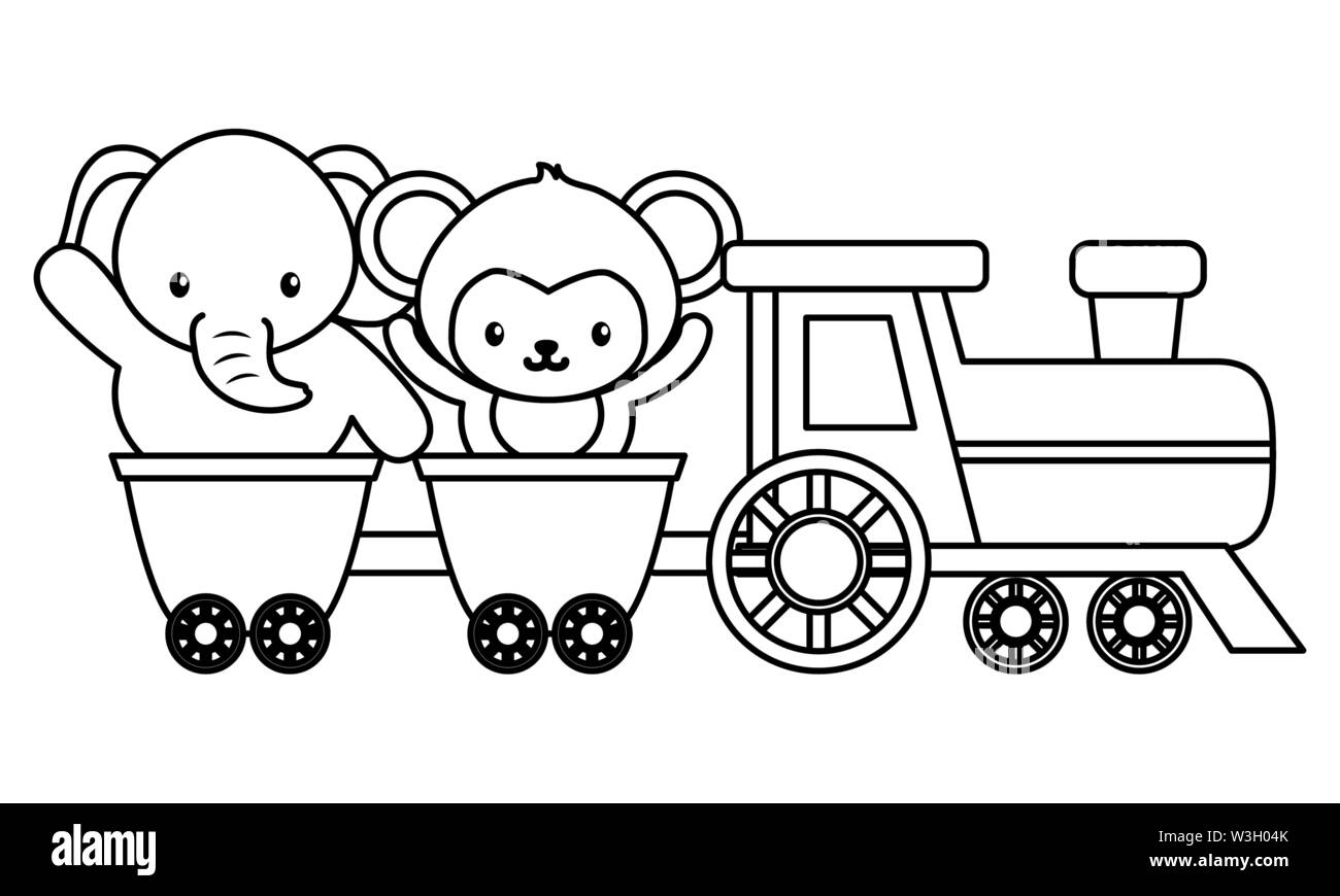 cute little monkey and elephant in train Stock Vector