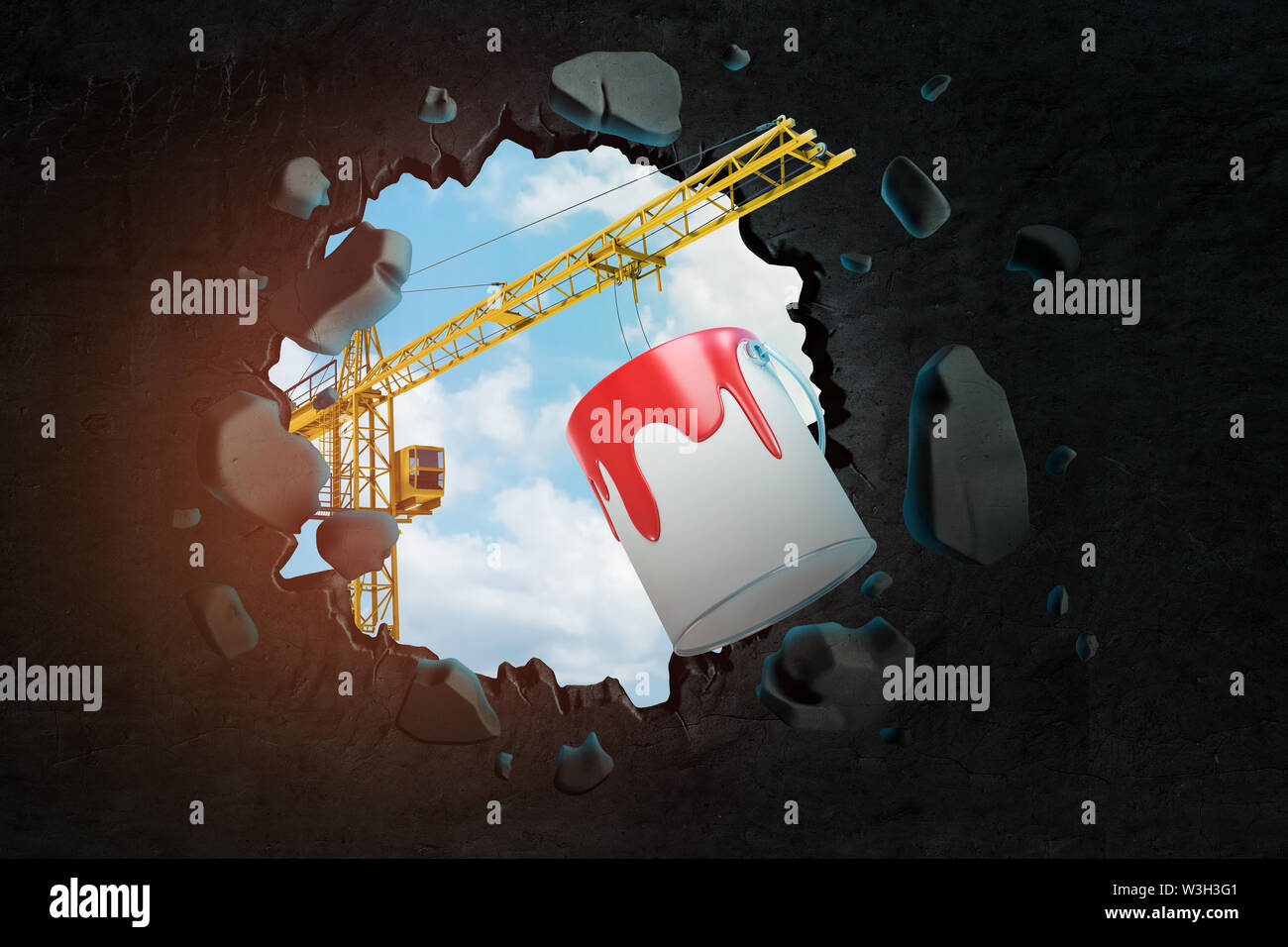 3d rendering of construction crane and red paint bucket breaking black wall. Digital art. Paint supplies. Objects and materials. - Stock Image