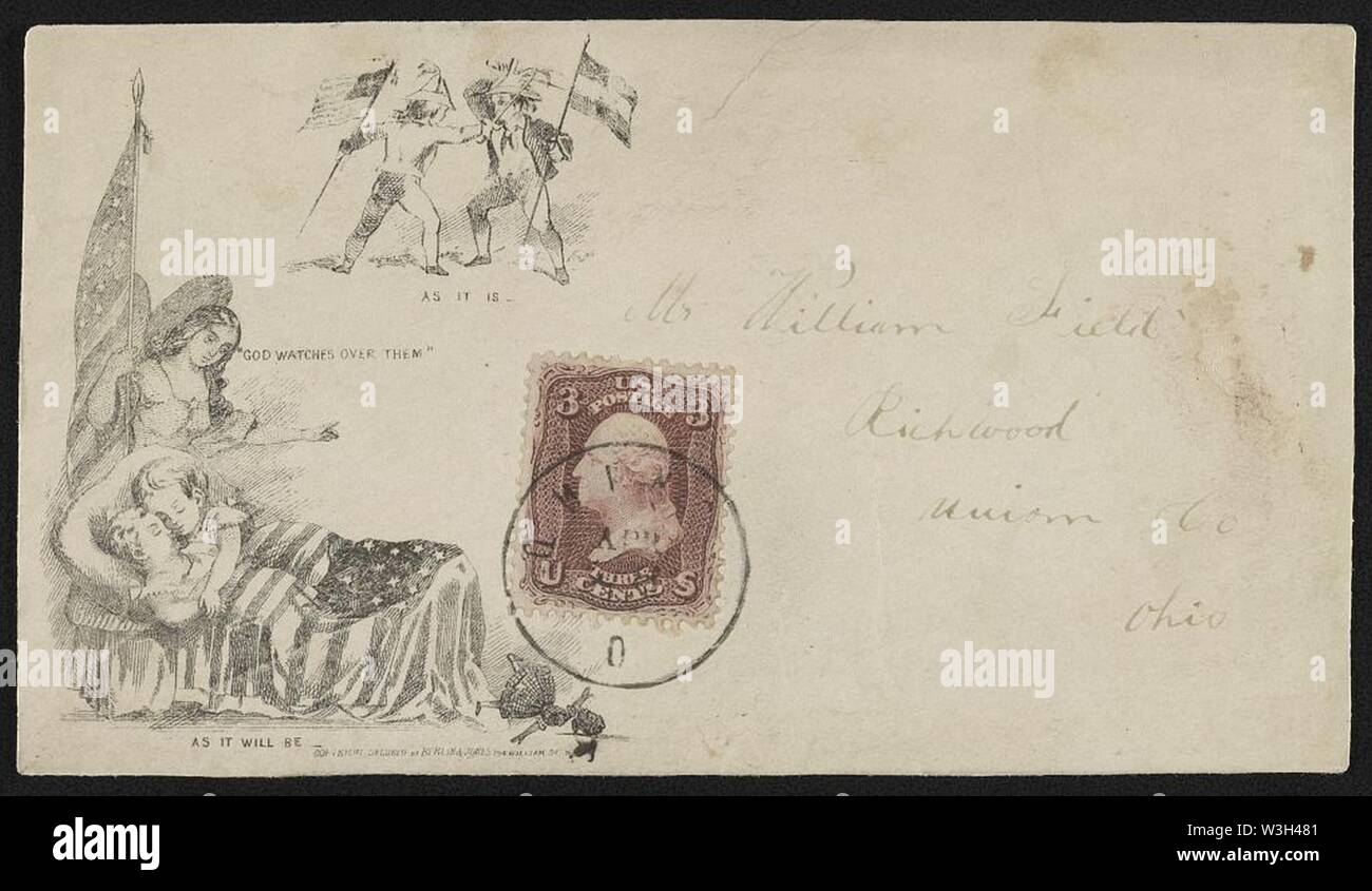 Civil War envelope showing angel holding American flag watching over sleeping children with broken doll on floor; also two boys sparring, one with Union flag and the other with Confederate - Stock Image