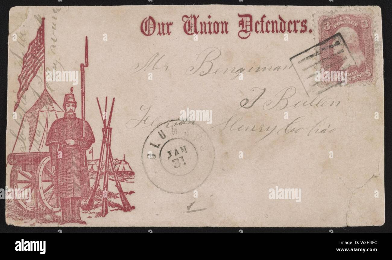 Civil War envelope showing soldier standing at attention in camp with message 'Our Union defenders' - Stock Image