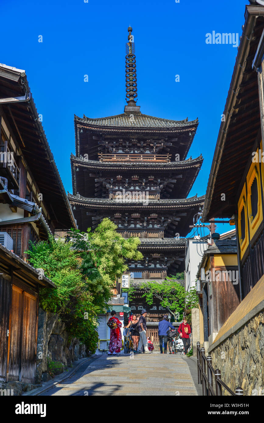 Kyoto, Japan - Jun 25, 2019. Sannen Zaka Street in Kyoto, Japan. Kyoto served as Japan capital and the emperor residence from 794 until 1868. - Stock Image