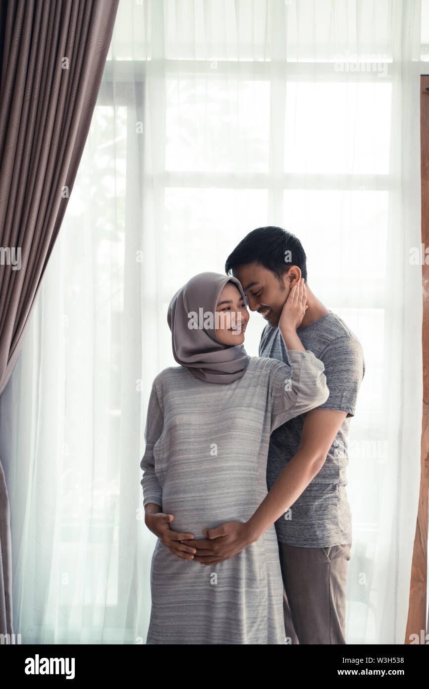 Pregnancy Muslim Woman Happy Asian Romantic Couple Expecting Baby Stock Photo Alamy