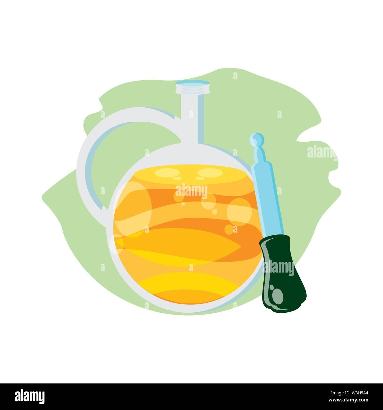 dropper medical tool with oil jar vector illustration design - Stock Image