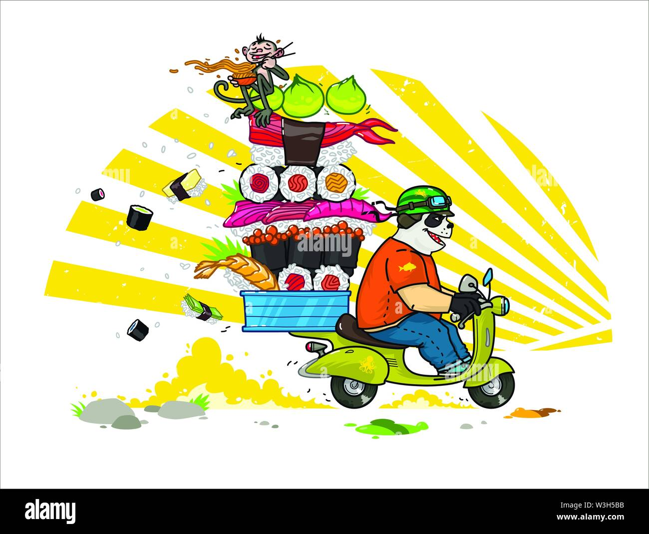 A cute cartoon panda delivers Asian food. Illustration of a courier panda delivering sushi, rolls. Panda is riding a scooter. The character is isolate - Stock Image