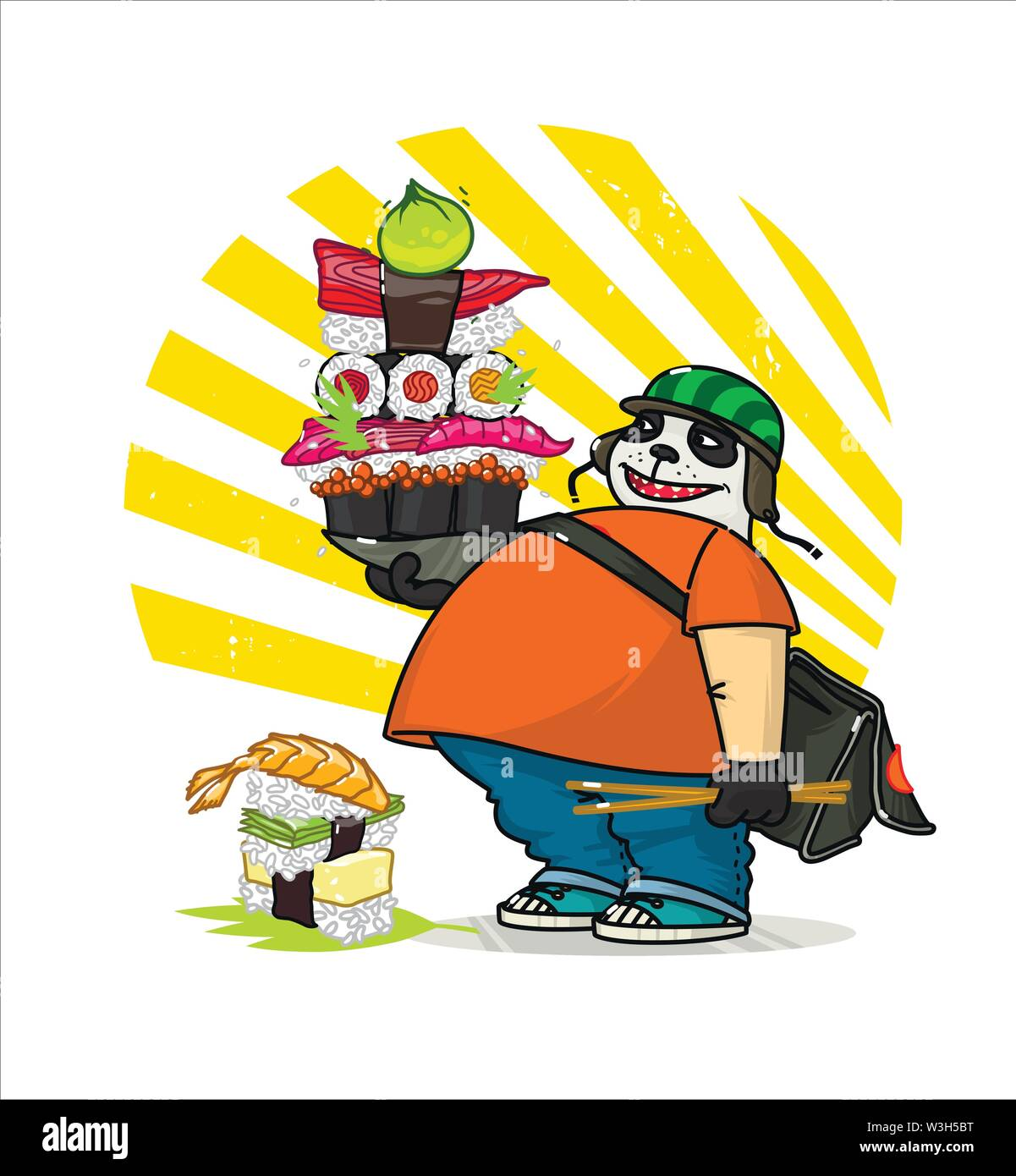 A cute cartoon panda delivers Asian food. Illustration of a courier panda delivering sushi, rolls.  The character is isolated on a white background. - Stock Image