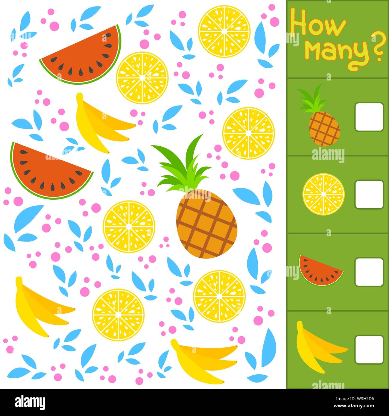 Game for preschool children. Count as many fruits in the picture, write down the result. Banana, watermelon, lemon, pineapple. With a place for answer Stock Vector