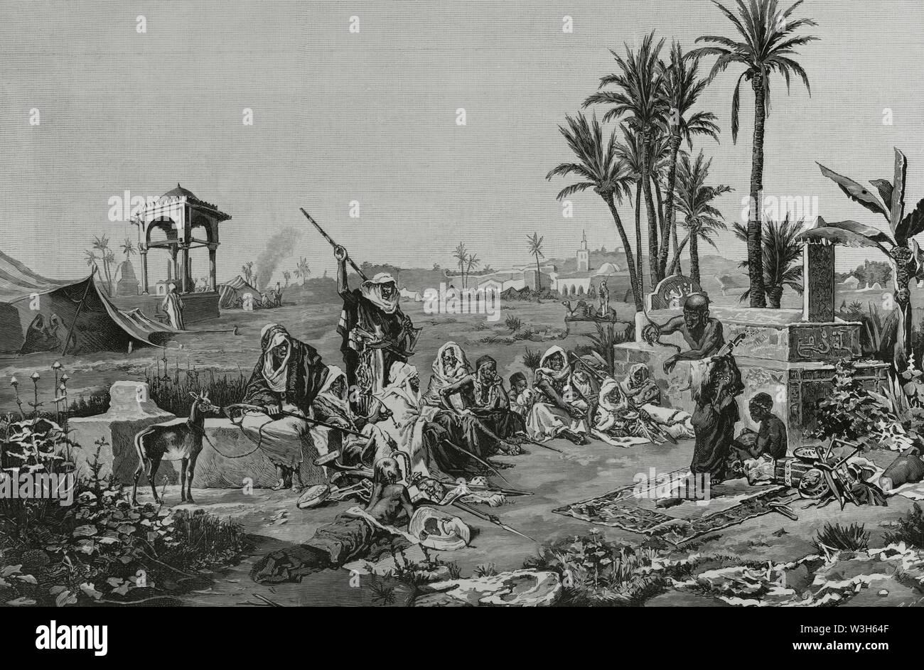 Norte de Africa. Costumbres árabes: un encantador de serpientes. Grabado por Arturo Carretero (1852-1903) a partir de un cuadro de Echena. La Ilustración Española y Americana, 15 de enero de 1883. - Stock Image