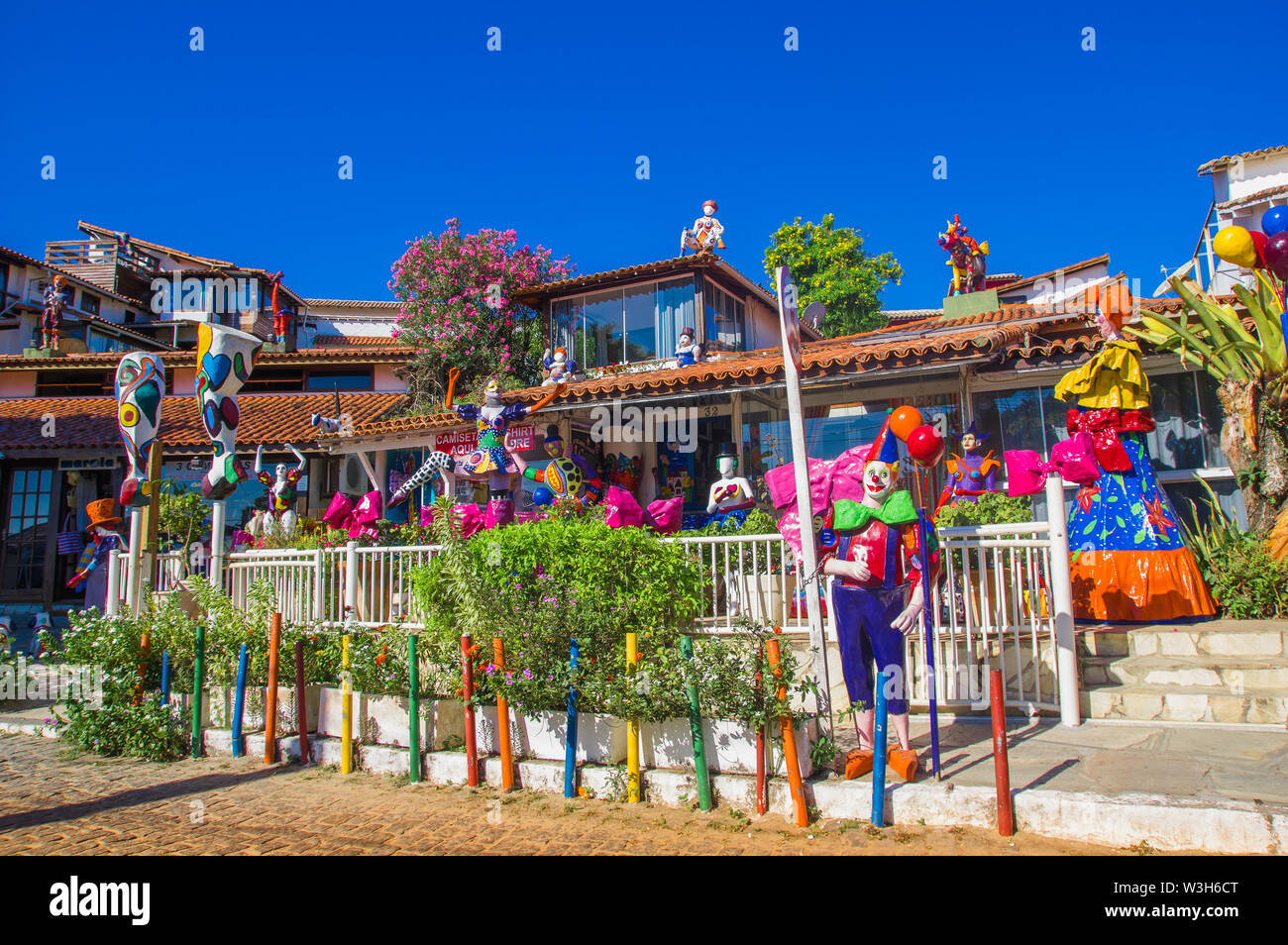 Buzios, Brazil - february 24, 2018: Streets of Buzios are filled with shops and restaurants are popular for tourists to visit at night time. - Stock Image
