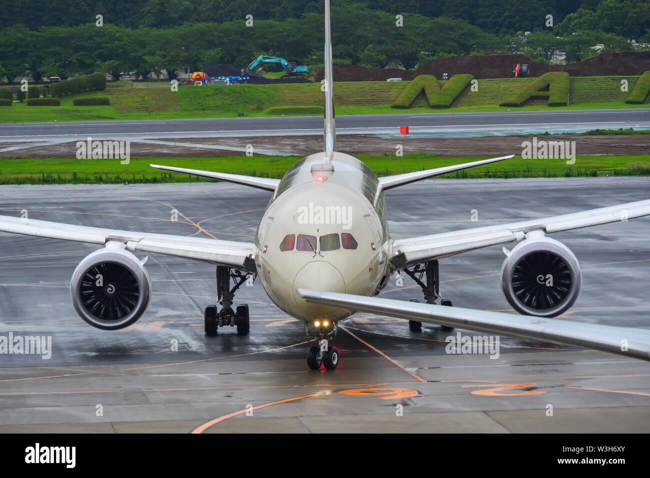 Tokyo, Japan - Jul 4, 2019. A6-BLI Etihad Airways Boeing 787-9 Dreamliner taxiing on runway of Tokyo Narita Airport (NRT). - Stock Image