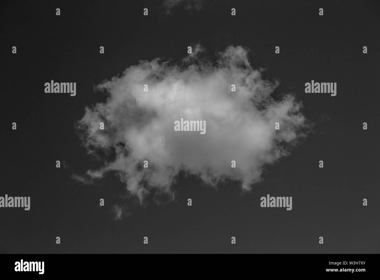 White realistic cloud on black sky background, nature concept Stock Photo