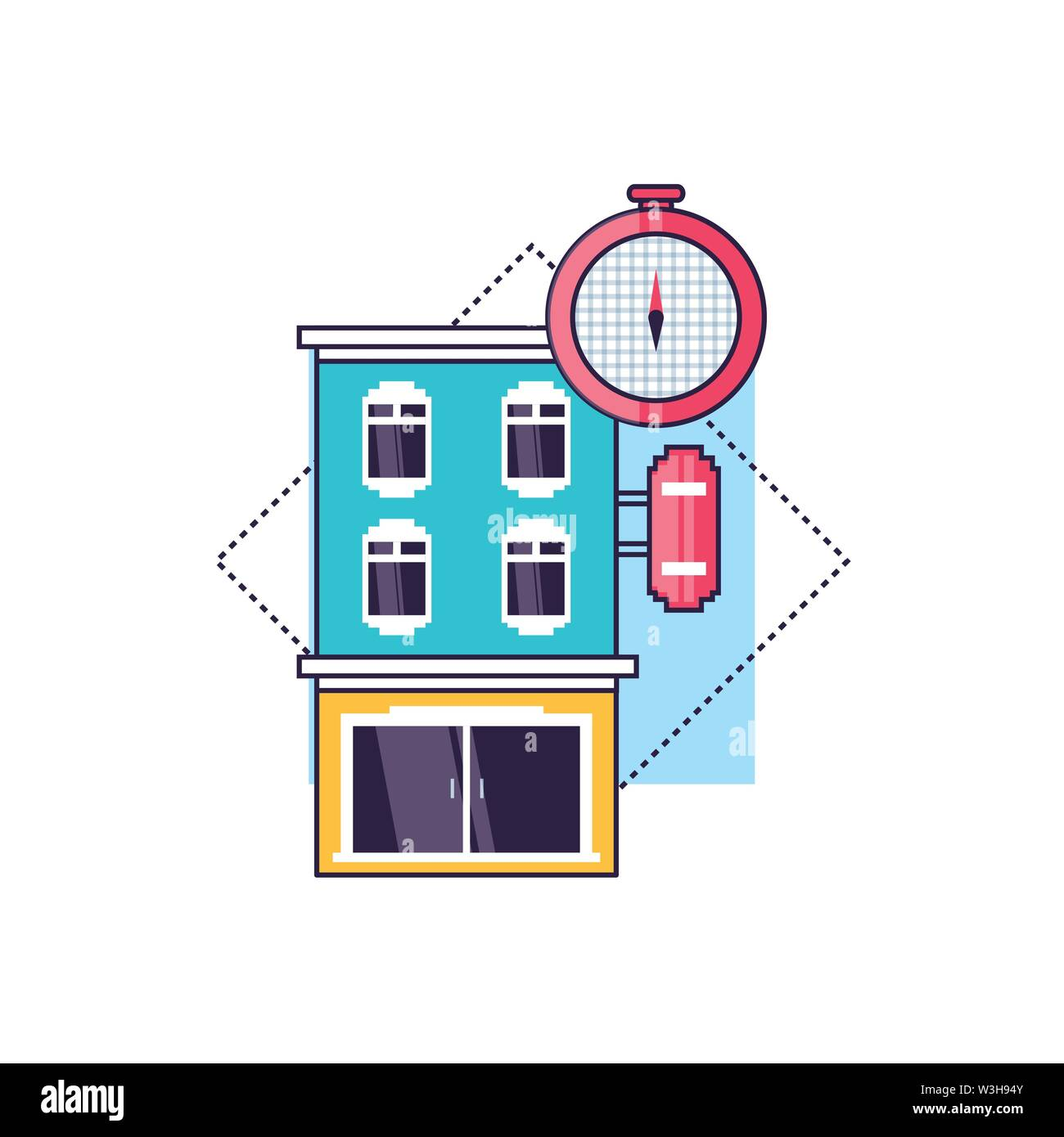 hotel building place with compass guide vector illustration design - Stock Image