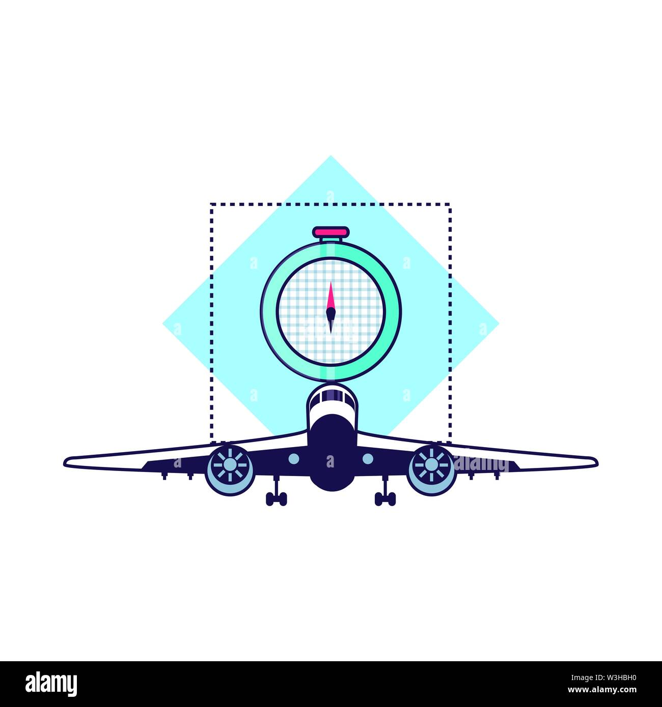compass guide device with airplane flying vector illustration design - Stock Image