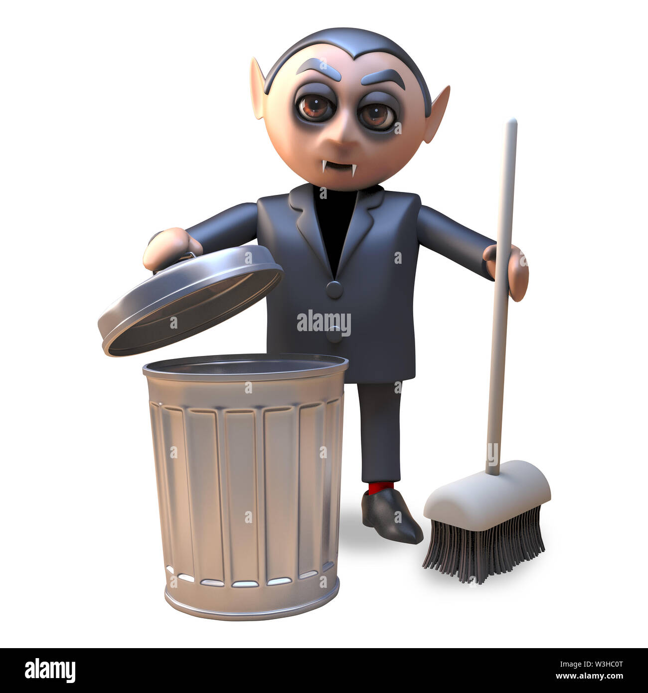 Cartoon 3d Halloween vampire dracula cleaning up with a broom and trash can, 3d illustration render - Stock Image