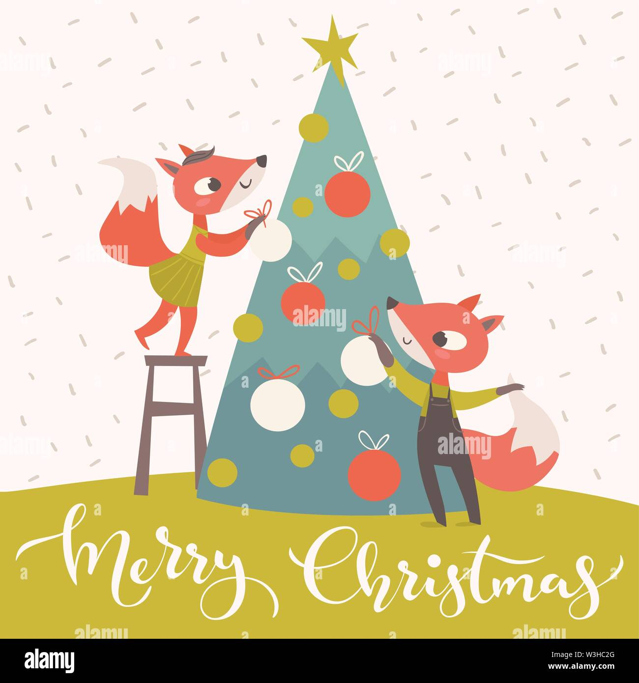 Christmas card with two little foxes decorating a tree - Stock Vector