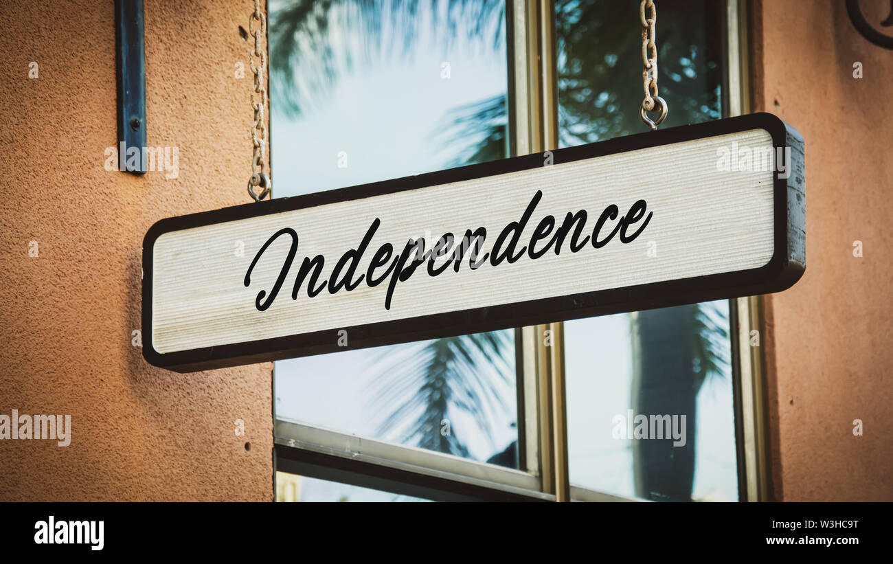 Street Sign the Direction Way to Independence Stock Photo