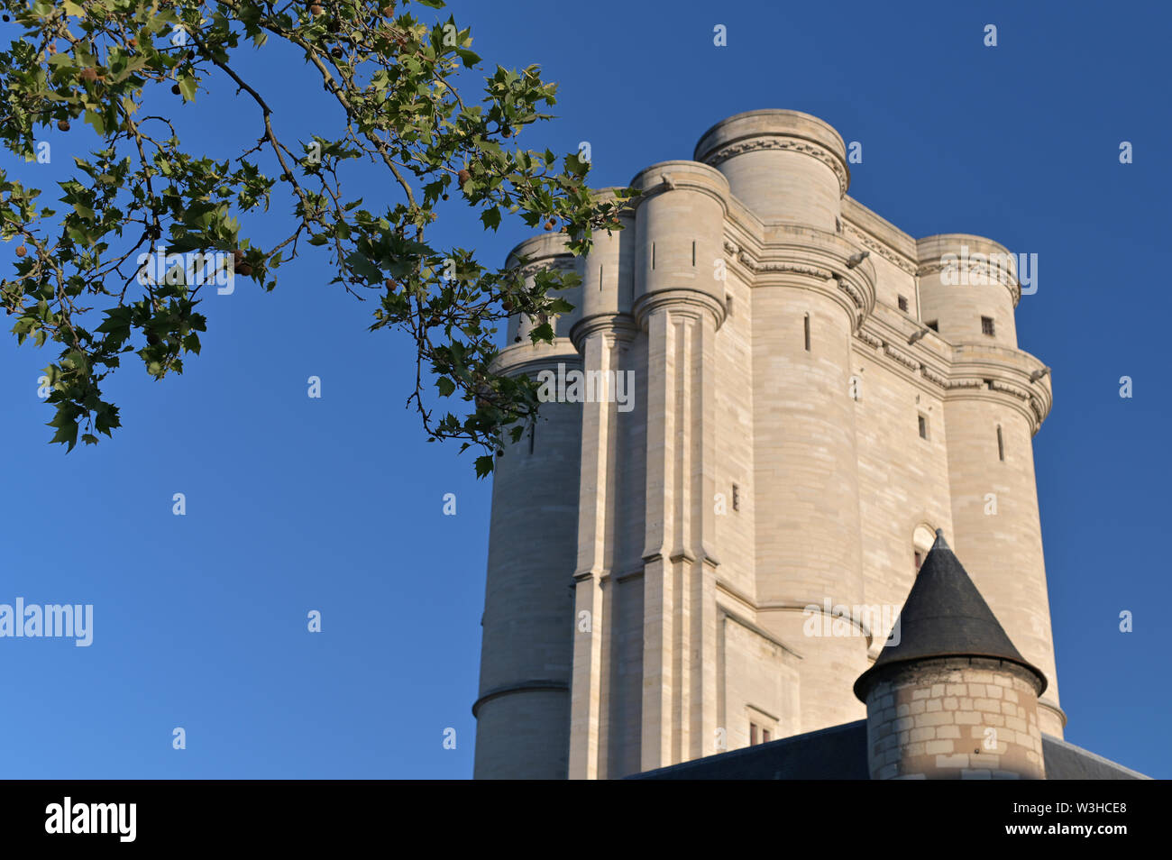 Vincennes Castle and blue sky. An ancient castle in the south of France. Architecture and travel - Stock Image