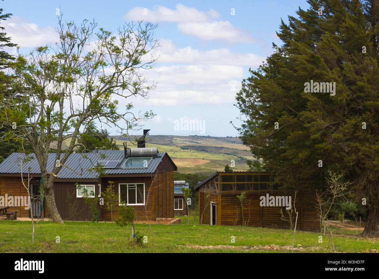 Grootvadersbosch self catering log cabins or chalet accommodation in the  nature reserve Langeberg region close to Heidelberg in the Cape,South Africa Stock Photo