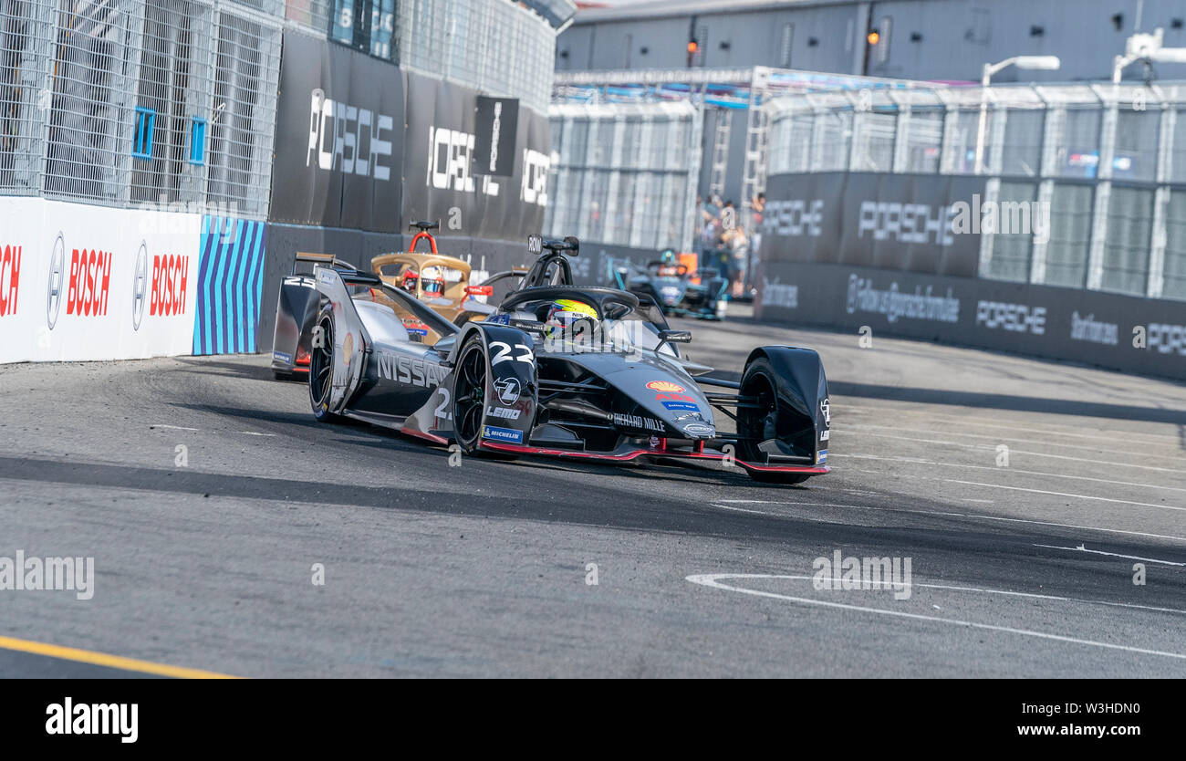 New York, United States. 14th July, 2019. Oliver Rowland of Nissan team drives electric racing car during New York City E-Prix 2019 Formula E Round 13 at Red Hook Credit: Lev Radin/Pacific Press/Alamy Live News - Stock Image