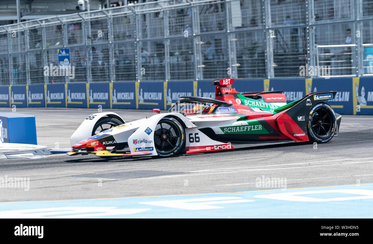 New York, United States. 14th July, 2019. Daniel Abt ofABT Schaeffler team drives electric racing car during New York City E-Prix 2019 Formula E Round 13 at Red Hook Credit: Lev Radin/Pacific Press/Alamy Live News - Stock Image