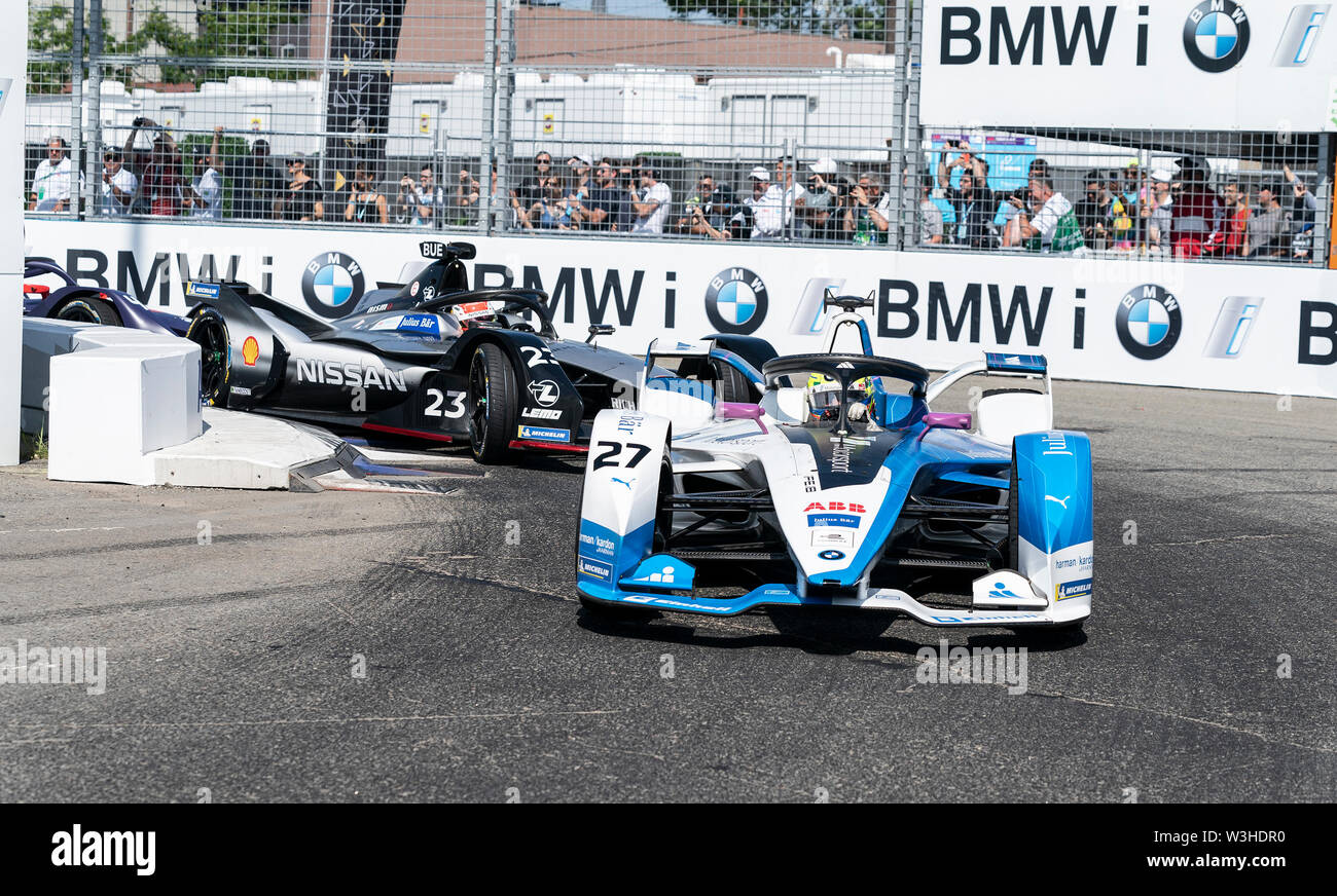 New York, United States. 14th July, 2019. Alexander Sims of BMW Motosport team drives electric racing car during New York City E-Prix 2019 Formula E Round 13 at Red Hook Credit: Lev Radin/Pacific Press/Alamy Live News - Stock Image