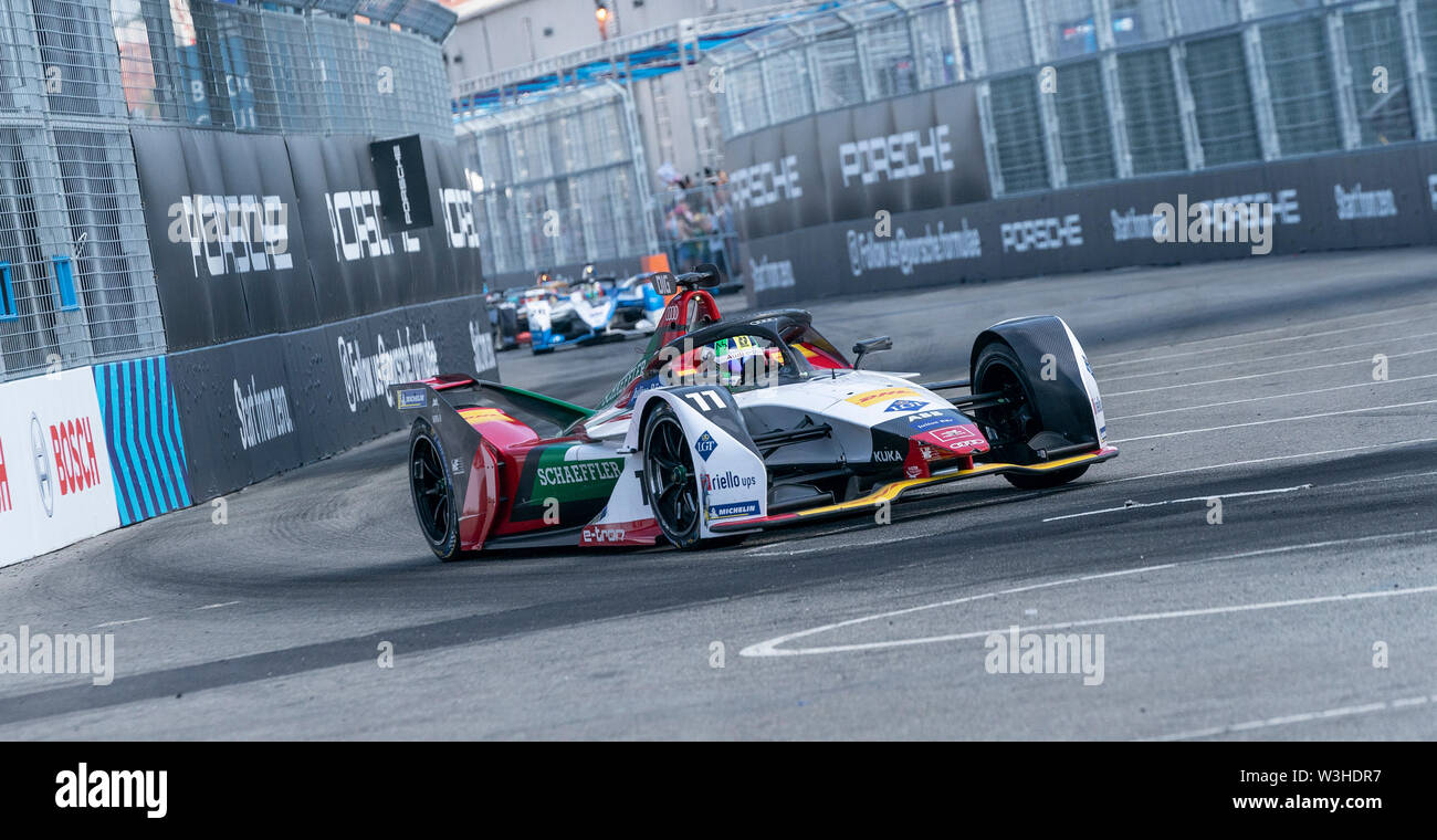 New York, United States. 14th July, 2019. Lucas Di Grassi of ABT Schaeffler team drives electric racing car during New York City E-Prix 2019 Formula E Round 13 at Red Hook Credit: Lev Radin/Pacific Press/Alamy Live News - Stock Image