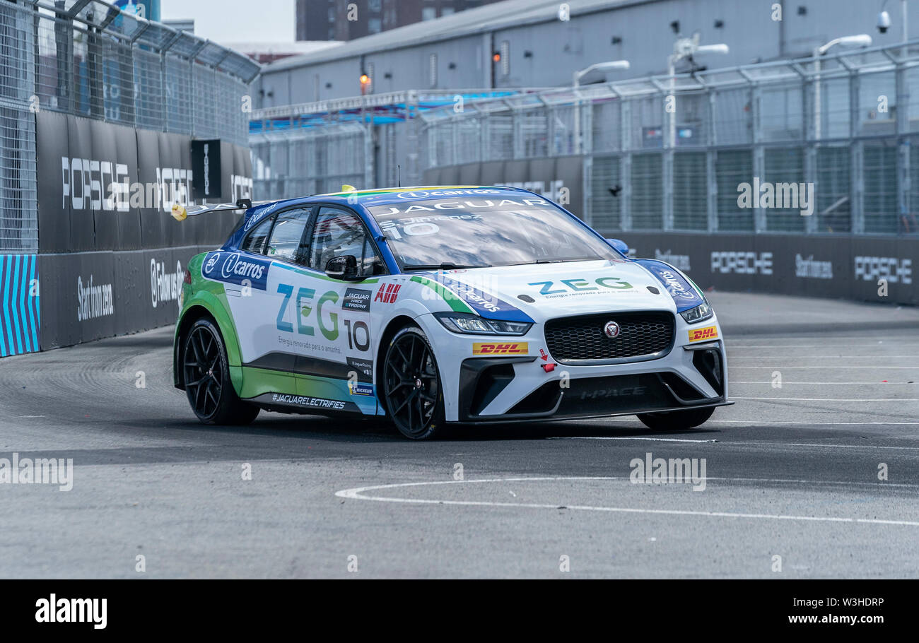 New York, United States. 14th July, 2019. NSergio Jimenez drives car during Jaguar I-Pace E-Trophy race during New York City E-Prix 2019 Formula E Round 13 at Red Hook Credit: Lev Radin/Pacific Press/Alamy Live News - Stock Image
